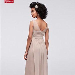 David's Bridal Dresses - David's Bridal Long Mesh Dress Illusion Neckline